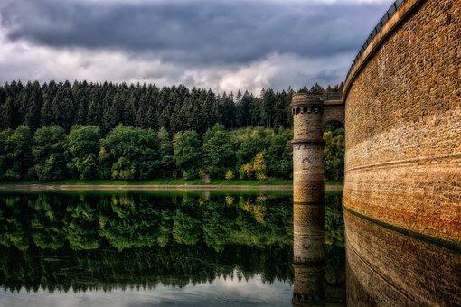 Reservoir, Dam, Water, Architecture