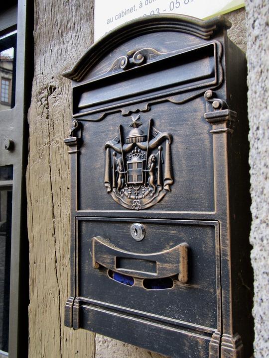 Postaláda, Dekoráció, Fém, Régi, Poszt, Levél, Deco