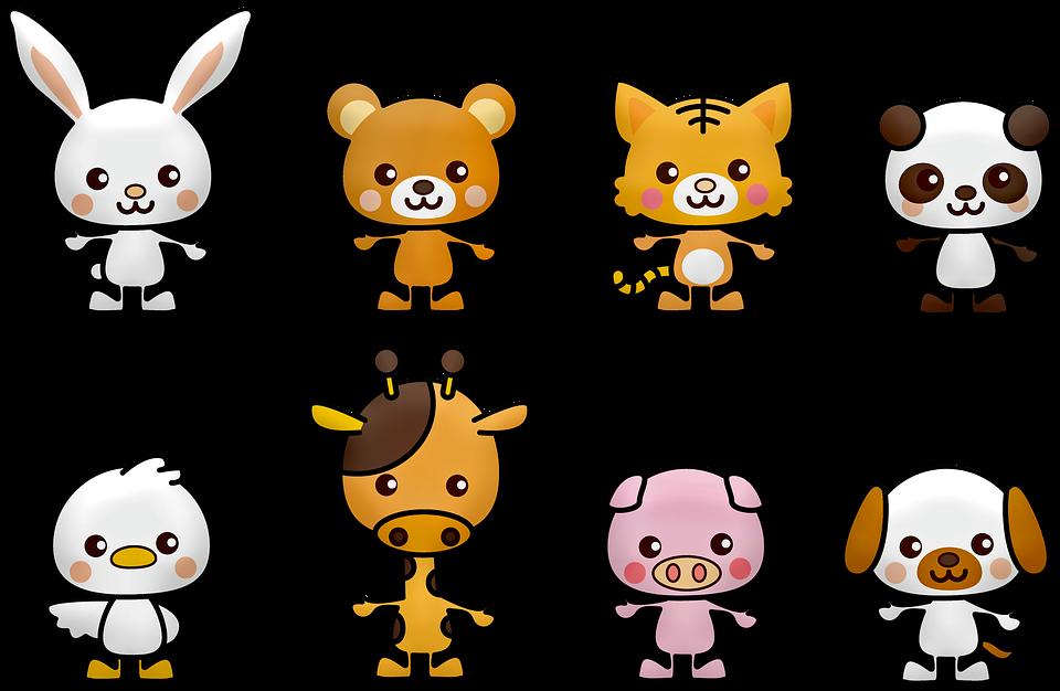 Kawaii, Panda, Kaninchen, Bär, Weiß, China, Hund, Vogel