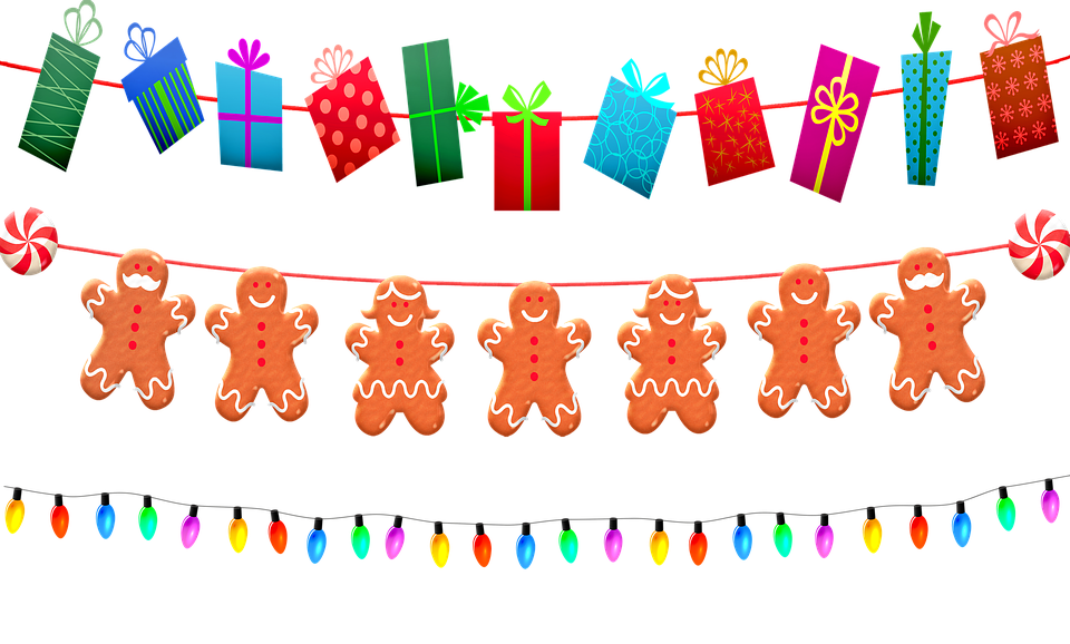 christmas garland christmas lights gingerbread