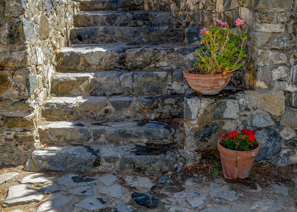 Cyprus, Kalopanayiotis, Monastery, Patio, Stairs