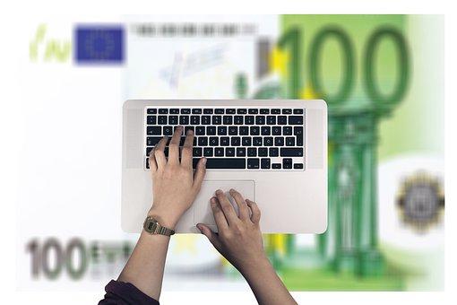 キーボード, 手, 書きます, 入力, キー, ユーロ, 金融, オンライン