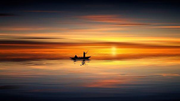 日没, 海, 釣り, ボート, 空, 夕暮れ, 日の出, 夜, 湖, ミステリー