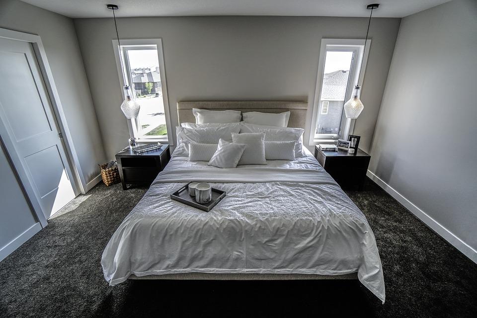 Спалня, Бяло, Възглавници, Легло, Килим