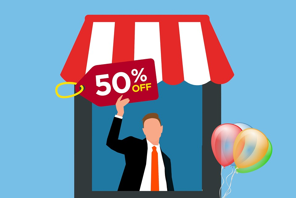 Sale, Discount, Shop, Booth, Man, Ciosk, Town, City
