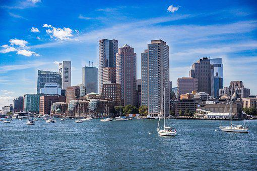 Boston, Skyline, Coast, Summer