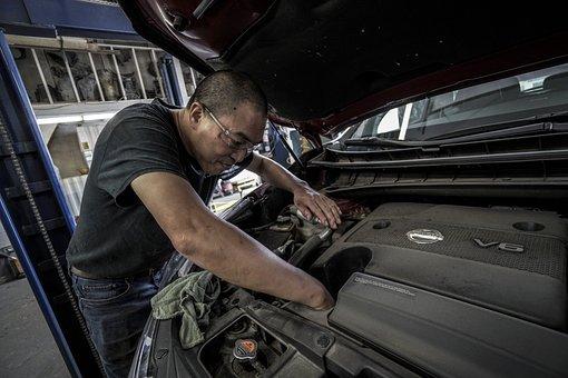 自動車修理, オイル交換, 油, 自動, 店, 修理, 仕事, モーター
