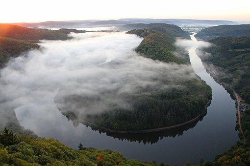雾, 河谷, 晨雾, Morgenstimmung, 萨尔循环, 河, 景观