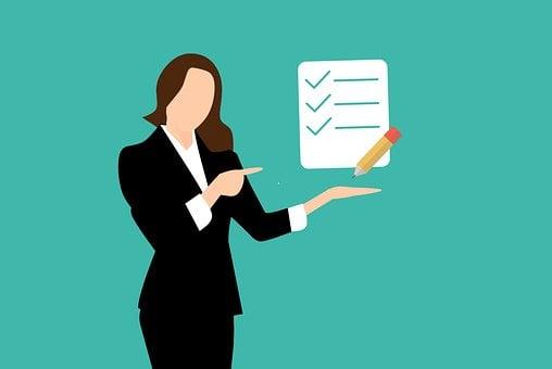 チェックリスト, ビジネス, 女性実業家, ノートブック, 一覧, チェック