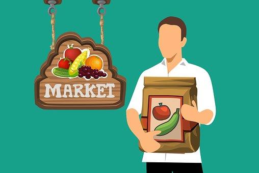 食料品, 男, バッグ, 保持, ショッピング, 食品, 健康, 購入, 人