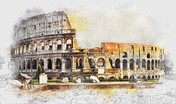 コロッセオ, ローマ, イタリア, 古代, 古い, アリーナ, 建物, 円形劇場