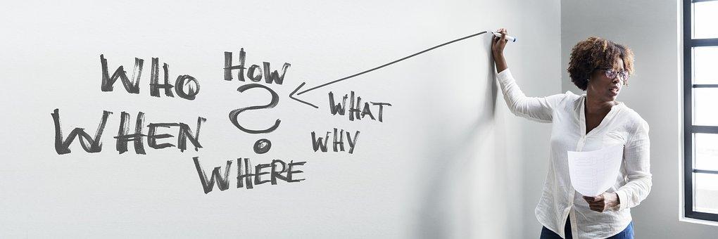 ビジネス, オフィス, トレーニング, 問題, ソリューション, 質問, 誰