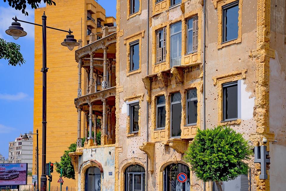 Budynku, Fasada, Bejrut, Muzeum, Pamięci, Wojna