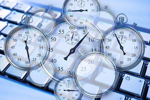 ストップウォッチ, 歯車, キーボード, 仕事, 作業時間, 時間, 管理