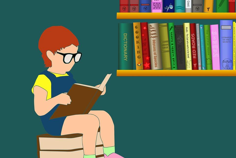 子, 読書, 本, 女の子, 教育, 幼児, 眼鏡, 学習, 勉強, 幸福, ユーモア, インテリジェンス