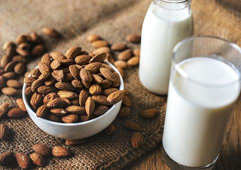 Almond, Almond Milk, Bottle, Bowl, Brown