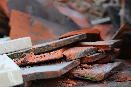 Building Rubble, Brick, Tile, Orange