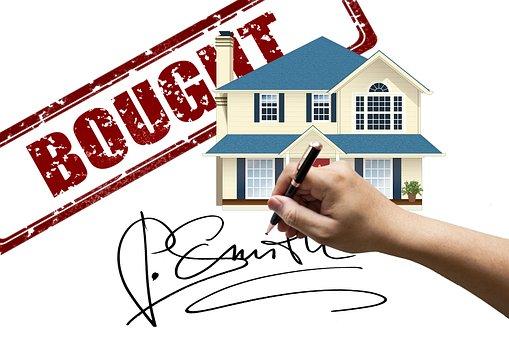 Venda, vendido, mão, assinatura, casa