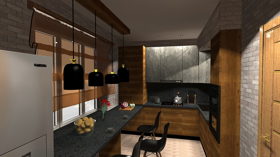 keuken interieur zolder ontwerp meubilair 3d