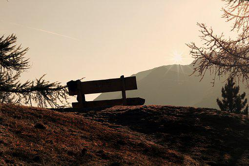Viewpoint, Bank, Wooden Bench, Mountains