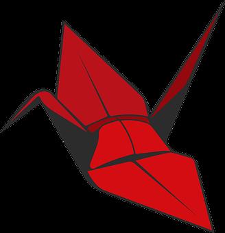 Origami, Crane, Red, Bird, Paper