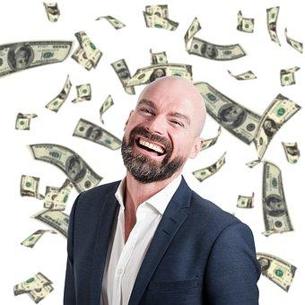 ビジネス, 帝国, お金, 男, スーツ, 自営業, 成功しました, 笑顔