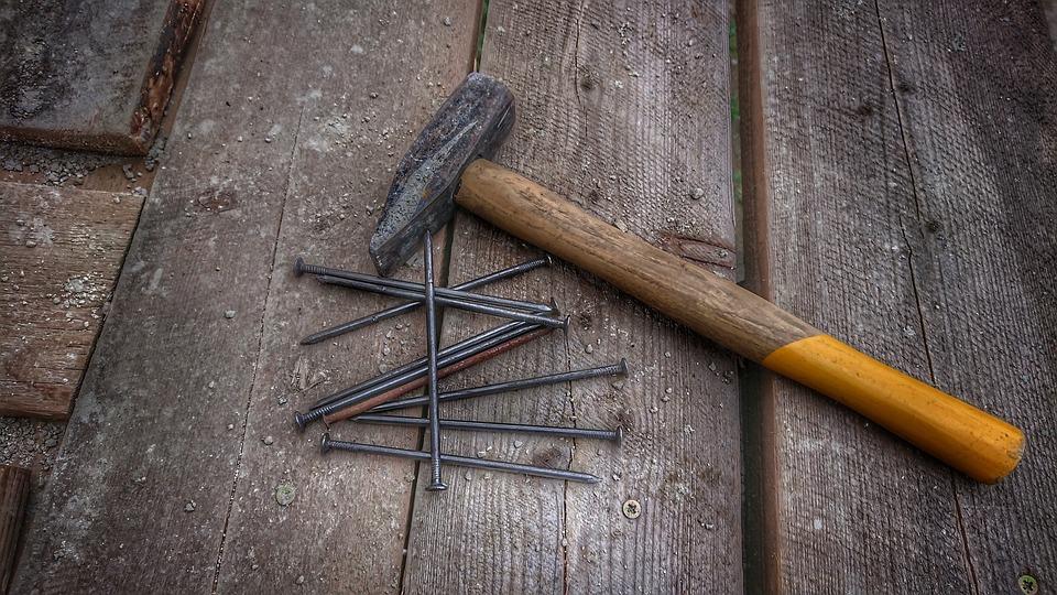 ハンマー, ネイル, 建物, ツール, 仕事, 木材, の構築, 楽器, 構造, 修理, 大工, 木工