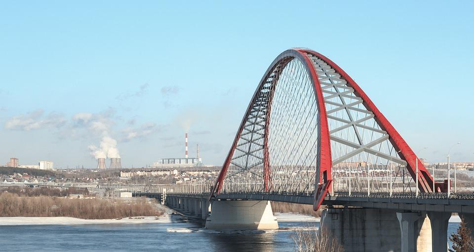 Мост, Красный Мост, Арка, Прутья, Зима, Снег