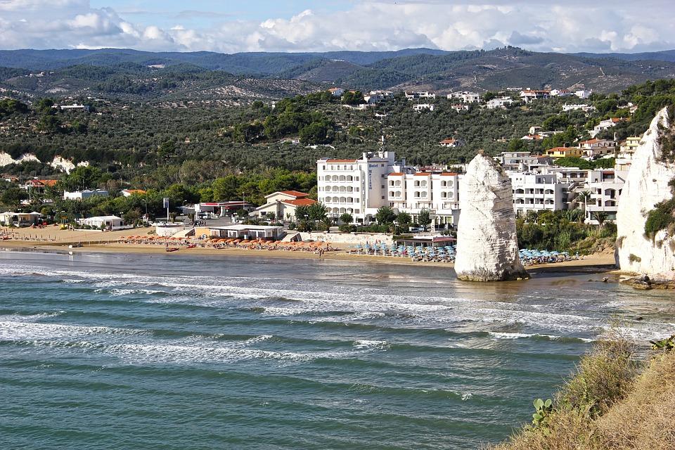 Vieste, Pizzomunno, Puglia, tenger, tengerpart, táj