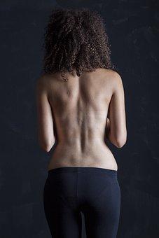 モデル, 女, 裸, 裏, リア, 暗い, 肌, 腰, ヘア, ポーズ, 大人