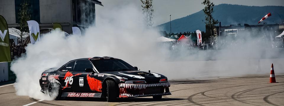 ドリフト, 車, レース, 速度, 煙, 漂う, スピードウェイ, アスファルト, ゴム, ドライバー