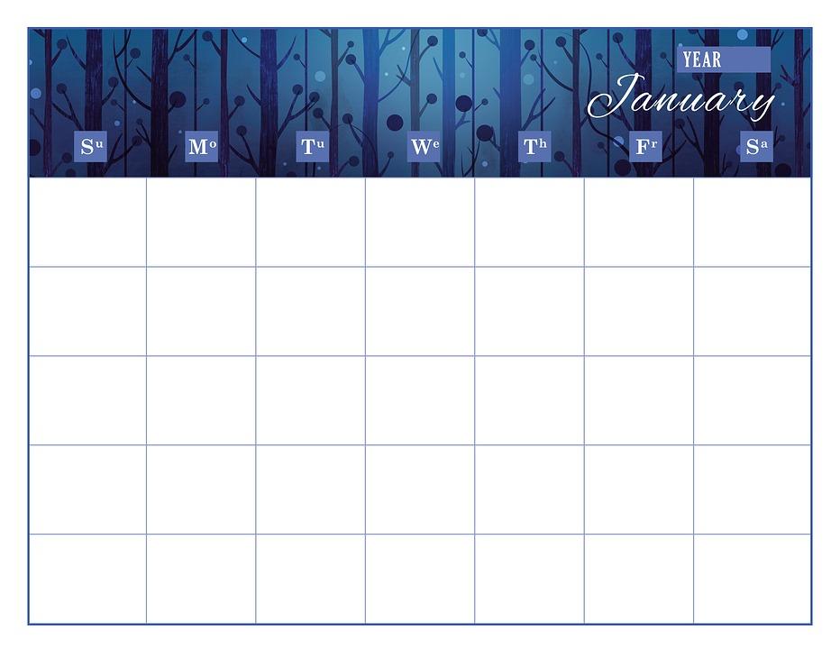 Calendario Gennaio.Calendario Modello Di Immagini Gratis Su Pixabay