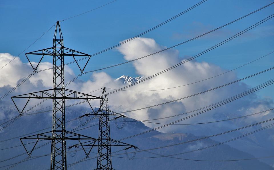 電線, 山脈, 力, 絶縁体, 雲, 技術, エネルギー, 組み合わせ, システム, 見通し, ハイテク