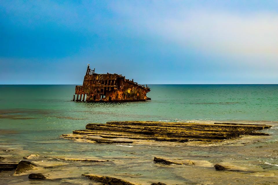 Shipwreck, Sea, Coast, Rocky, Wreck, Wreckage, Rusty