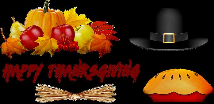 Happy Thanksgiving, Pumpkin, Pilgrim Hat