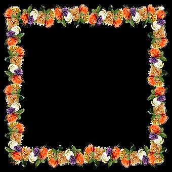 Blumen, Grenze, Rahmen, 3D, Schatten