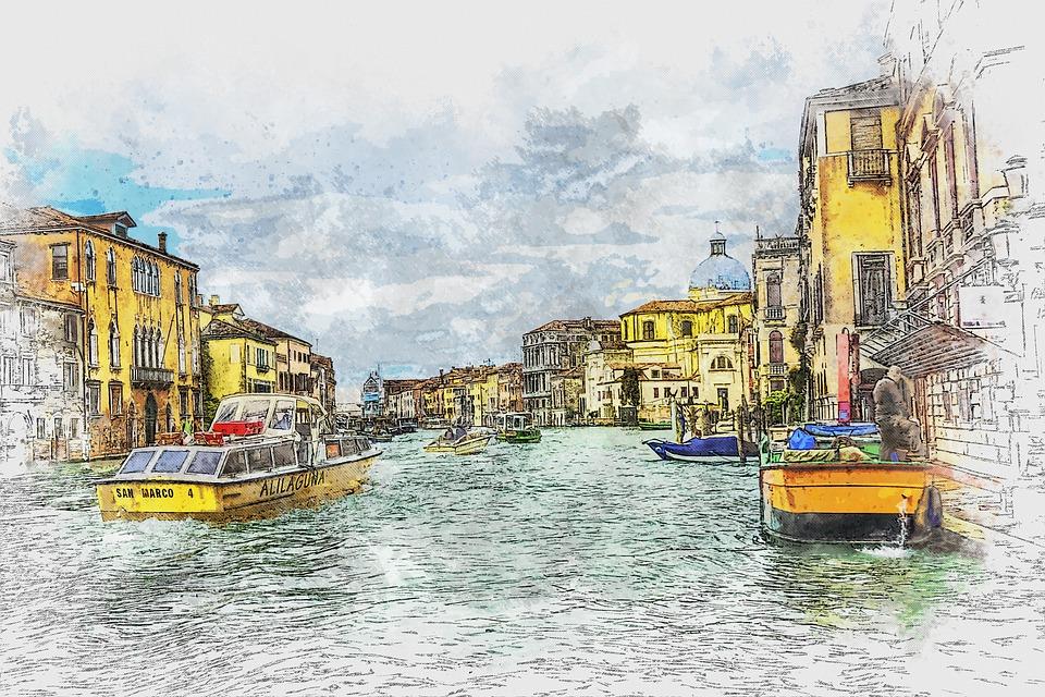ヴェネツィア, イタリア, ゴンドラ, 建物, 市, アーキテクチャ, 旅行, 水,
