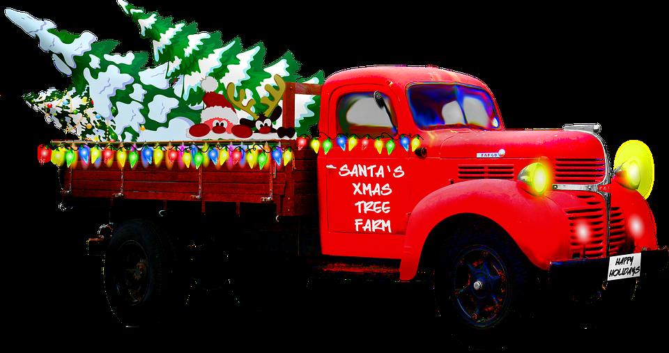 クリスマスのトラック, ピックアップします, クリスマス, サンタのツリー農園, 赤, お祝いの, 自動