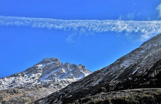 蓝天, 高度, 山, 高, 全景图, 阿尔卑斯山, 第一场雪, 岩, 风景