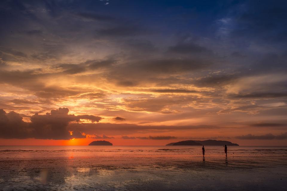 Sunset, Beach, マレーシア, コタキナバル, タンジュンアル, Cloud, 雨