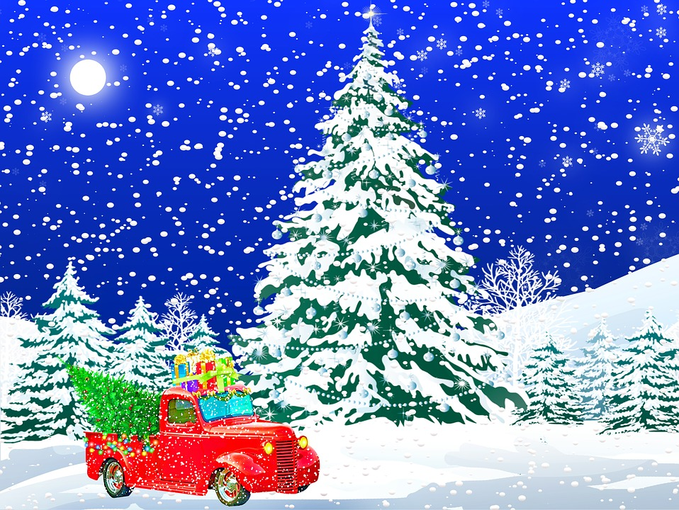 Car Christmas.Christmas Car Truck Winter Scenery Free Image On Pixabay