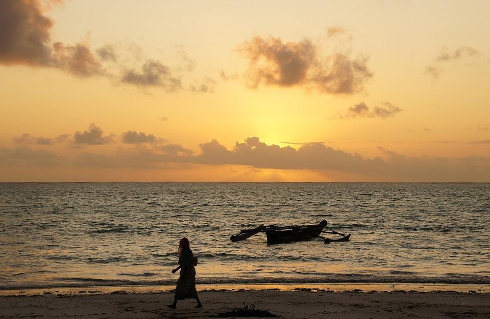 Sunrise, Zanzibar, Mer, Afrique, Plage, Tanzanie, Ciel