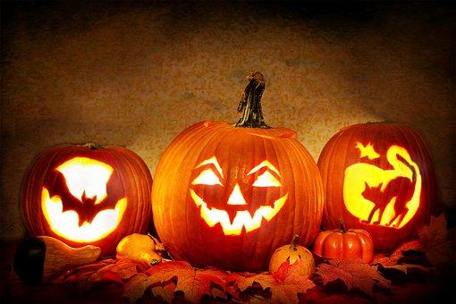 Jack-O-Lanterns, Lit, Pumpkins