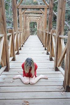 赤, 女, のみ, ブリッジ, 崖, 自殺, 泣, 孤独感, うつ病, ヘア