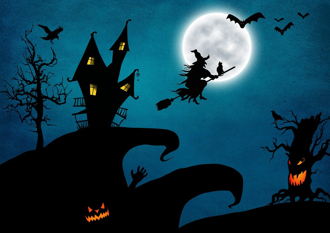 Открытка к хэллоуину с ведьмочкой, дню учителя