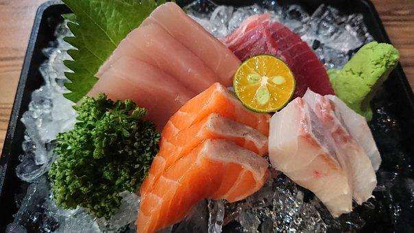 お刺身, 日本語, 原魚, 鮭, 新鮮, わさび, 刺身, 日本, 魚, グルメ