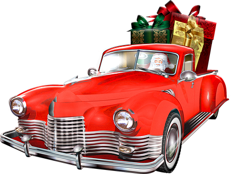 Christmas Car, Santa Claus, Presents