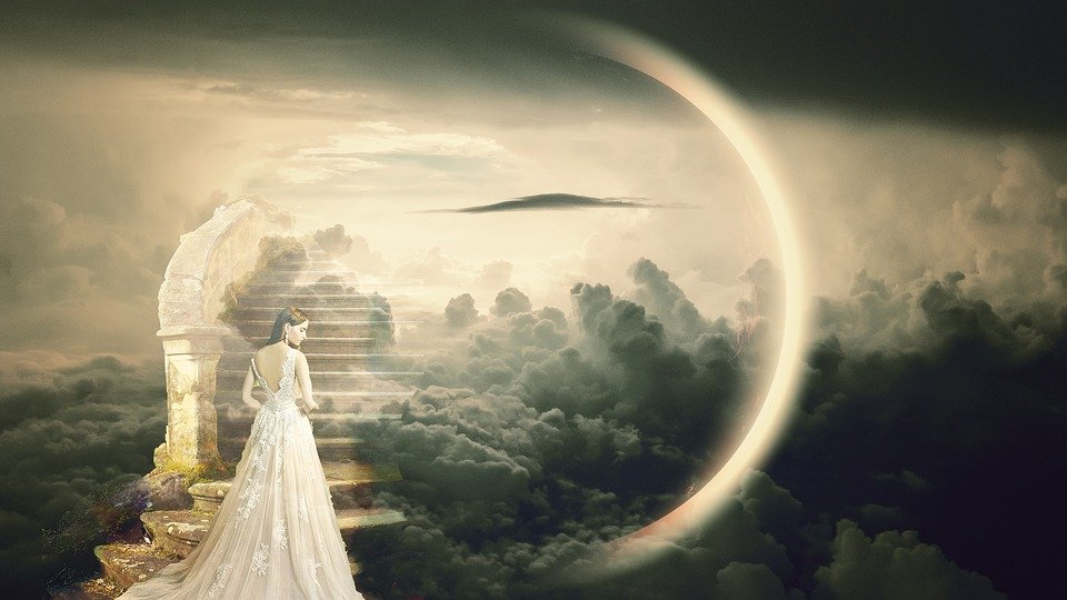 夢, 天国の階段, ファンタジー, 女性, ドレス, 神秘的です, おとぎ話, マジック, 雲, ムーン