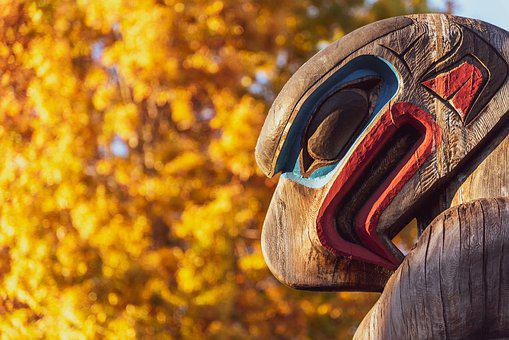 Totem, Fall, Leaves, Sunset, Eagle