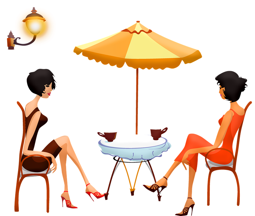 Vrouwen In Café, Vrouw Het Drinken Koffie, Vrouwen, Cup